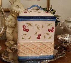 Inspirado Hand Painted Cookie Jar With by TheBouncingFrogs on Etsy