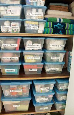 medical supplies in an organized bathroom closet - California Closet Bathroom Closet Organization, Bathroom Linen Closet, Medicine Cabinet Organization, Home Organisation, Closet Storage, Storage Organization, Organized Bathroom, Organize Bathroom Closet, Organizing Ideas