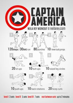 I love this workout I actually believe it to be one of the best there is Cap like Star Wars always been an inspiration for me and so I try to incorporate it into my daily workouts many thanks to Neila Rey for this incredible work her website is now called Darebee.com so be sure to check that out