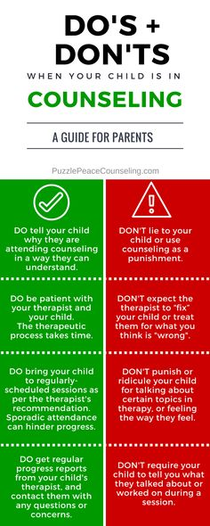 When your child is in counseling: Some Do's and Don'ts for parents.
