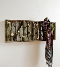 Great idea  branches  in a frame as a coat rack