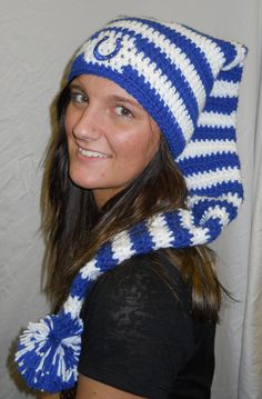 Crochet Indianapolis Colts Super Long Sock Hat with Pom Pom