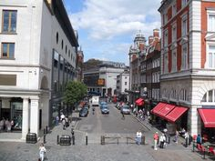 Russell Street , Covent Garden as seen from the Balcony of what was Raymond Blancs restaurant Covent Garden London England