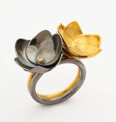 Diamond Silver Gold Double Lotus Flower Ring image 4