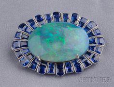 Platinum, Opal, and Sapphire Brooch