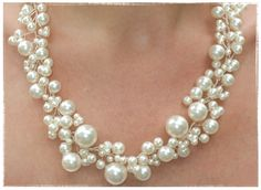 """Bridal Pearl Necklace and Pearl Stud Earrings Set Bridal Jewelry Bridesmaid Maid of Honor """"Pearly Girly Necklace"""". $120.00, via Etsy."""