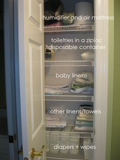 organized our main linen closet Pantry Closet Organization, Organization Station, Household Organization, Closet Storage, Life Organization, Organizing Your Home, Organizing Tips, Organising, Clean Mama