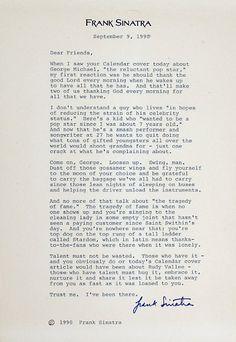 Interesting Read from Frank Sinatra