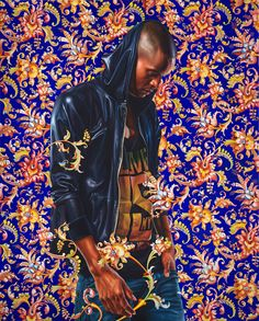 "Kehinde Wiley Studio - Morthyn Brito IV, 2012 Oil on canvas 60"" x 48"""