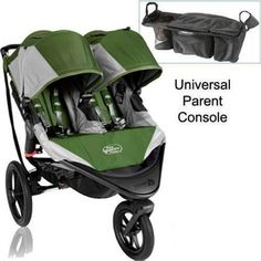 Baby jogger summit x3 double jogging stroller with parent console - green gray