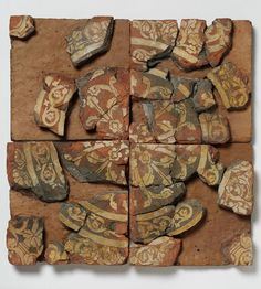 These fragments of a tile were once part of a highly decorated floor at Chertsey Abbey, Surrey. Pavements of decorated ceramic tiles were a medieval innovation. They were used to add richness and splendour to great churches initially but they were subsequently used in secular contexts, including castles and royal residences. The pattern on this example has been created by inlaying white decoration into the surface of the tile.