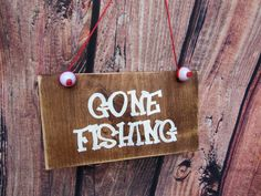 Rustic shabby chic Gone fishing with fishing line and by ShamShack