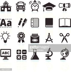 Education and School Supplies Black & White Set