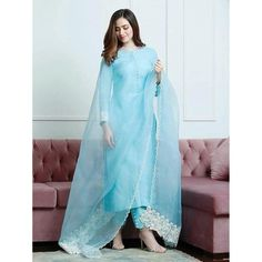 Sky blue cotton suit Dress Indian Style, Indian Fashion Dresses, Indian Designer Outfits, Indian Outfits, Designer Dresses, Designer Wear, Designer Kurtis, Indian Gowns, Fashion Outfits