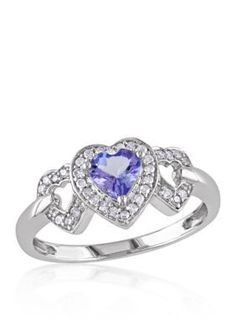 Belk  Co. Purple Tanzanite and Diamond Heart Ring in 10k White Gold