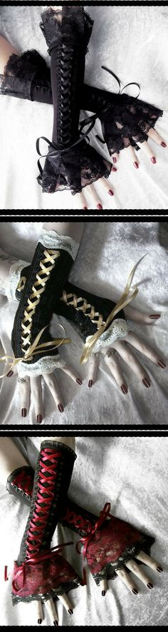 "I like to call them ""Wrist Corsets"" but...Steampunk black gloves"