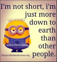 I'm not short, I'm just more down to earth than other people. - minion
