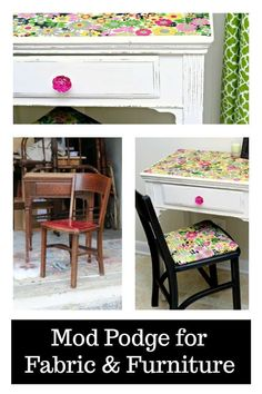 Mod Podge for Fabric and Furniture  #decoupage #modpodge #fabric #floral #furnituremakeover