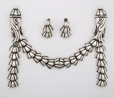 Los Castillo Taxco Sterling Silver Double Swag Brooch (can be converted to 2 brooches) with Matching Earrings