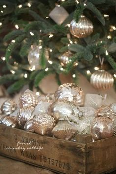 Blush mercury glass French country Christmas ornaments