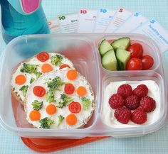 healthy lunch challenge bento- flatbread veggie pizza spread with cream cheese, yogurt with fruit