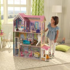 Your young one will love creating little adventures in the lavish confines of this dollhouse from KidKraft. Front Door Entryway, Four Rooms, Toy House, Dollhouse Toys, How To Make Light, Christmas Toys, Luxury Life, Toys For Girls, Pet Shop
