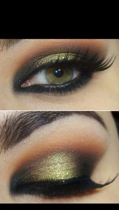 Pretty gold & brown and black gradient eyeshadow
