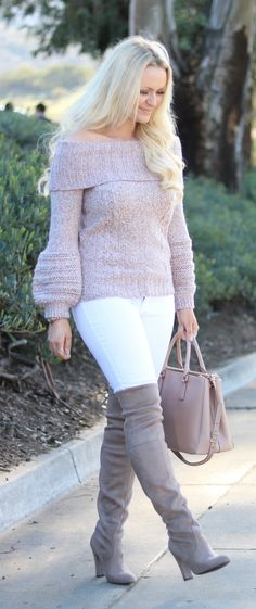 White jeans and off the shoulder sweater