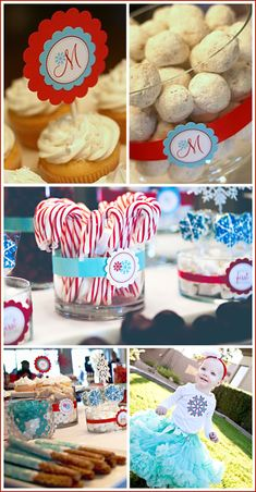 I love the idea of just doing a color theme. Turquoise and Red First Birthday