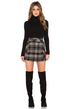 Free People Zip it to Plaid Mini Skirt* in Black Combo