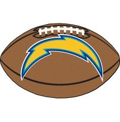 San Diego Chargers football shaped floor mat