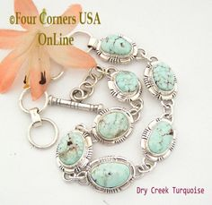 Four Corners USA Online - Dry Creek Turquoise Long Adjustable Link Bracelet Jane Francisco Native American Silver Jewelry NALB-1414, $487.00 (http://stores.fourcornersusaonline.com/dry-creek-turquoise-long-adjustable-link-bracelet-jane-francisco-native-american-silver-jewelry-nalb-1414/)