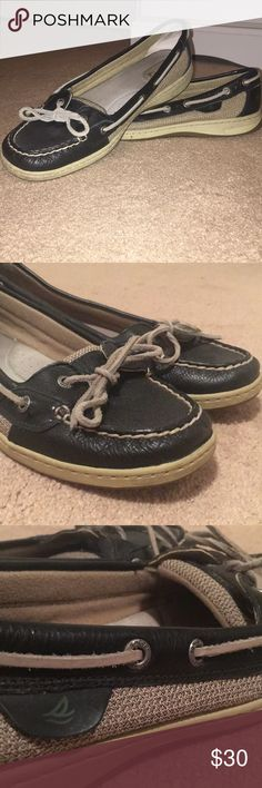 cf235f4dc590 Sperry boat shoes Navy blue Sperry s with gray laces Excellent used  condition!! Minimal signs