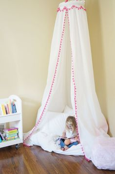 Pom Pom Trim Play Tent Canopy. Also available in gray, pink, orange, and black with many different pom pom color trim options. You can design your own
