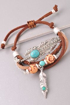 Vegan Leather Silver Boho Turquoise Feather Charm Bracelet