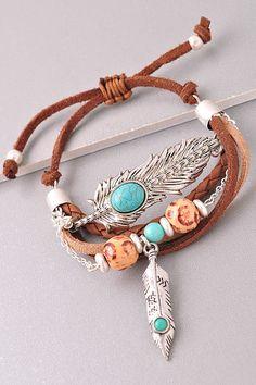 Vegan Leather Silver Boho Turquoise Feather Charm Bracelet