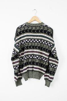 Vintage Marled Tribal Aztec Print Sweater - Mint Threads - 2