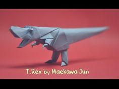 Origami T-Rex Dinosaur by Maekawa Jun - Yakomoga Origami tutorial Origami T Rex, Origami Artist, Dollar Bill Origami, Origami And Kirigami, Origami Ball, Origami Paper Art, Useful Origami, Origami Boxes, Origami Instructions