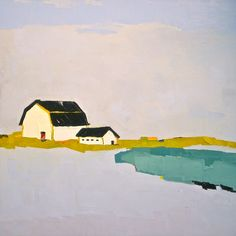 Promise of Living - 24x24 Original Oil Painting on Canvas - White Barn, Landscape, Lake, Pond.