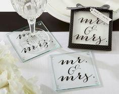 Classic Mr. and Mrs. Coasters Black & white wedding, wedding decor, mr & mrs wedding, black & white coasters