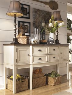 Whitesburg Two-Tone Breakfront Dining Room Server by Signature Design by Ashley Furniture French Country Dining, Country Dining Rooms, French Country Decorating, Country Chic, Farmhouse Buffet, Farmhouse Decor, Country Farmhouse, Furniture Projects, Furniture Makeover