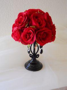 Gothic Red and Black Wedding Centerpiece / Reception Decoration. $54.99, via Etsy.