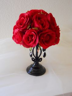 Gothic Red And Black Wedding Centerpiece / Reception Decoration