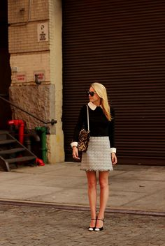 Sweater: Milly. Skirt: Alice + Olivia (old). Shoes: Stuart Weitzman (also buy here). Purse: Valentino. Sunglasses: Karen Walker 'Number One'. Trench: Banana Republic (old). Jewelry: David Yurman, Stella and Dot, Hermes, Pomellato, Chanel, YSL.