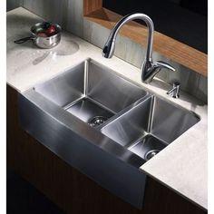 """eModern Decor Ariel 33"""" x 21"""" 60/40 Double Bowl Farmhouse Kitchen Sink"""