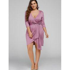 Plus Size Self-Tie Asymmetric Bridesmaid Wrap Dress Curvy Fashion, Plus Size Fashion, Plus Size Dresses, Plus Size Outfits, Moda Xl, Dress Skirt, Wrap Dress, Dresser, Maid Of Honour Dresses