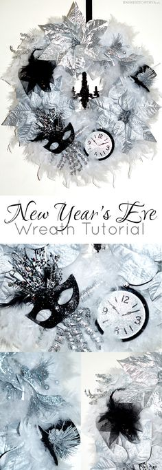 DIY New Year's Eve Wreath Tutorial using products from Walmart