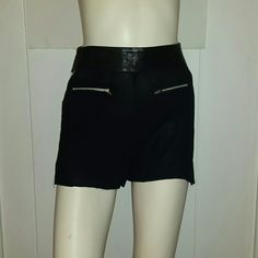 One Teaspoon Shorts High waisted, leather trim soft cotton poly blend short with hip cutouts and exposed zipper at back. Great condition no holes, snags, or stains. One Teaspoon Shorts