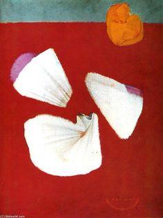 'Muscheln und Blumen', öl auf leinwand von Max Ernst (1891-1976, Germany)