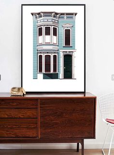 san francisco art print Retro San Francisco American Houses Illustration Mid Century Style Art Print Vintage Homes